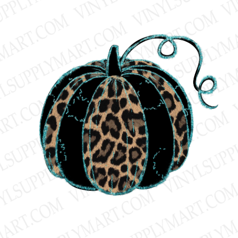 *Pumpkin - Leopard and Turquoise - HTV Transfer