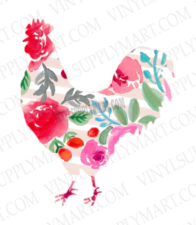 *Rooster - Floral - SUBLIMATION TRANSFER