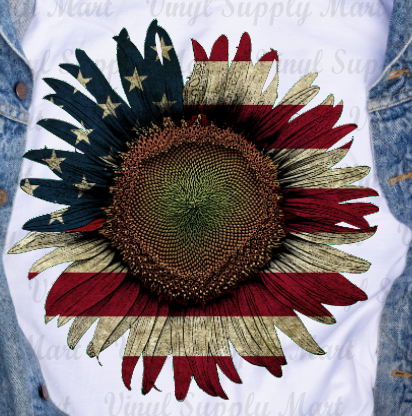 *Sunflower / Rustic Flag - HTV Transfer