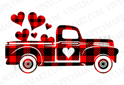 *Truck - Plaid Hearts - HTV Transfer