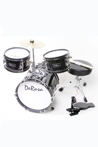 "DE ROSA DRM312-BK 3 PIECE 12"" KIDS JUNIOR DRUM SET BLACK"