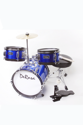 "DE ROSA DRM312-BU 3 PIECE 12"" KIDS JUNIOR DRUM SET BLUE"