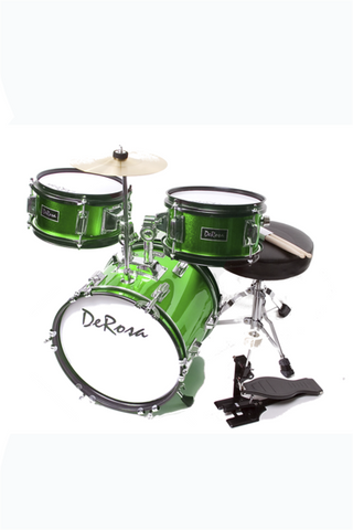 "DE ROSA DRM312-GR 3 PIECE 12"" KIDS JUNIOR DRUM SET GREEN"