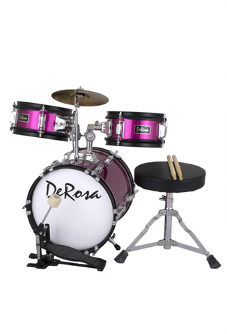 "DE ROSA DRM312-HPK 3 PIECE 12"" KIDS JUNIOR DRUM SET HOT PINK"