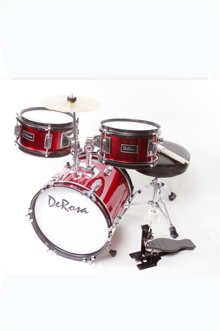 "DE ROSA DRM312-RD 3 PIECE 12"" KIDS JUNIOR DRUM SET RED"