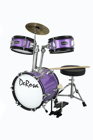 "DE ROSA DRM312-SPL 3 PIECE 12"" KIDS JUNIOR DRUM SET *SPARK COLLECTION* PURPLE"