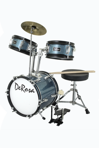 "DE ROSA DRM312-STQ 3 PIECE 12"" KIDS JUNIOR DRUM SET *SPARK COLLECTION* TURQUOISE"