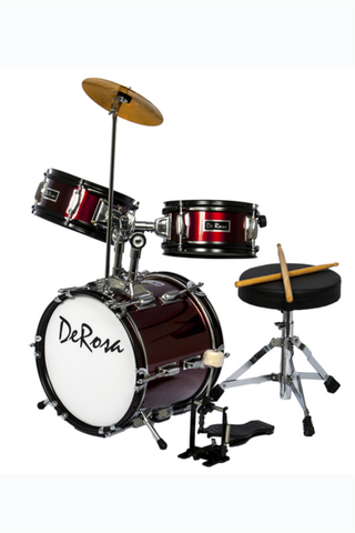 "DE ROSA DRM312-WRD 3 PIECE 12"" KIDS JUNIOR DRUM SET WINE RED"