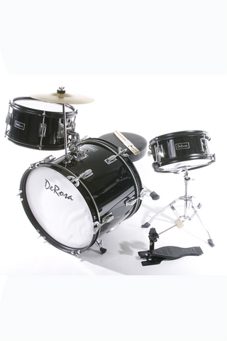 "DE ROSA DRM316-BK 3 PIECE 16"" KIDS JUNIOR DRUM SET BLACK"