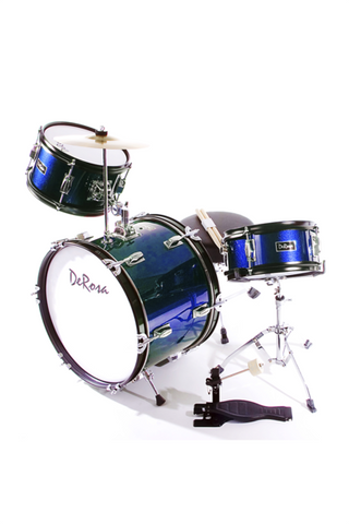 "DE ROSA DRM316-BU 3 PIECE 16"" KIDS JUNIOR DRUM SET BLUE"