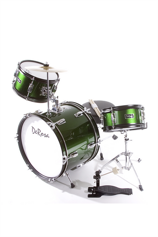 "DE ROSA DRM316-GR 3 PIECE 16"" KIDS JUNIOR DRUM SET GREEN"