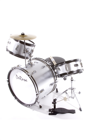"DE ROSA DRM316-SL 3 PIECE 16"" KIDS JUNIOR DRUM SET SILVER"
