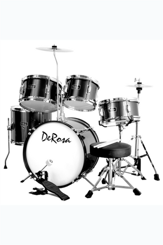 "DE ROSA DRM516-BK 5 PIECE 16"" KIDS JUNIOR DRUM SET BLACK"