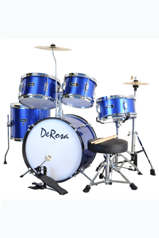 "DE ROSA DRM516-MBU 5 PIECE 16"" KIDS JUNIOR DRUM SET METALLIC BLUE"