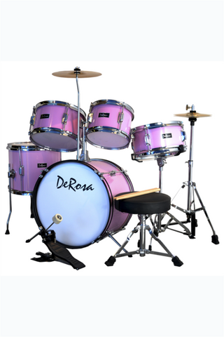 "DE ROSA DRM516-MPK 5 PIECE 16"" KIDS JUNIOR DRUM SET METALLIC PINK"
