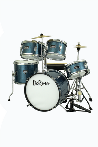 "DE ROSA DRM516-STQ 5 PIECE 16"" KIDS JUNIOR DRUM SET *SPARK COLLECTION* TURQUOISE"