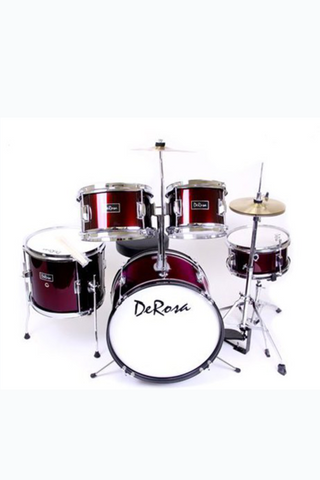 "DE ROSA DRM516-WRD 5 PIECE 16"" KIDS JUNIOR DRUM SET WINE RED"