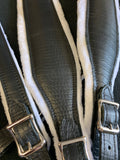 ACCORDION STRAPS 822 ALAGATOR EMBOSSED  BLACK LEATHER/white