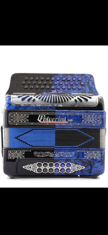POLVERINI ACCORDION  3412 LATINO2 BLUE/BLACK  W 3 SWITCH TONO FA