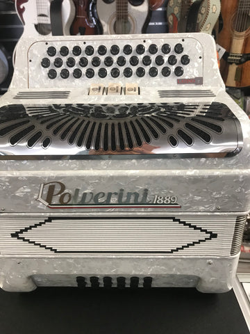 Accordion by Polverini  LATINO-2- 34 botones con  3-cambios /sol BLANCO