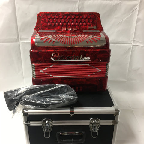 POLVERINI ACCORDION RED 3412 with 3 switch TONO FA free shipping