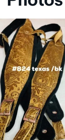 ACCORDION STRAPS 824 TEXAS EMBOSSED/BK LIMITED COLLECTION