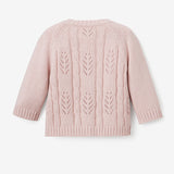 Blush Leaf Pointelle Knit Baby Cardigan