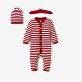 Holiday Striped Baby Bodysuit & Sleepy Cap Set
