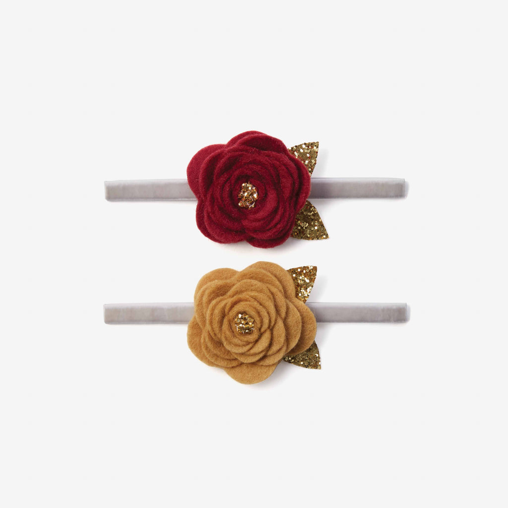 Burgundy/Mustard Rose Baby Headbands 2pk