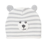 Bear Faced Gray Stripe Hat with Ears