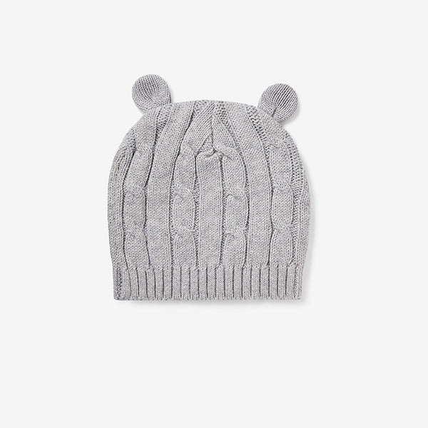 Heather Gray Cable Knit Baby Hat with Ears