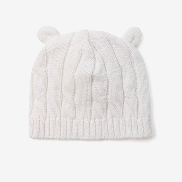 Whisper White Cable Knit Baby Hat with Ears