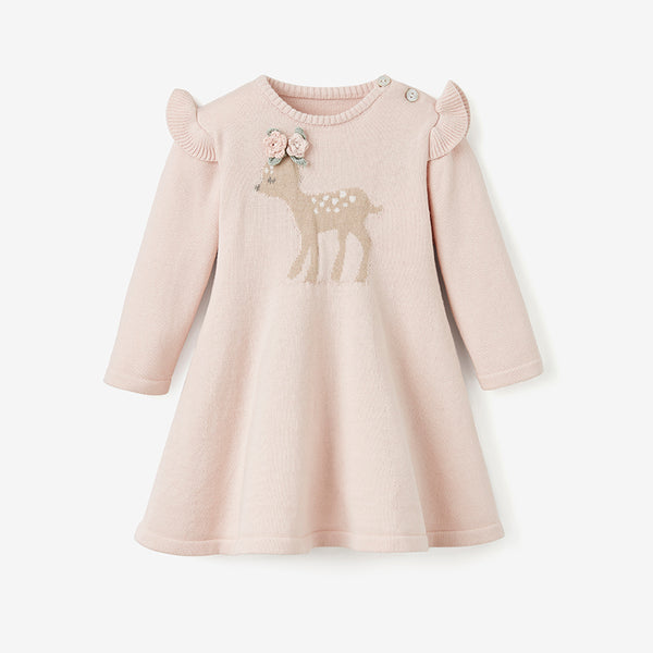Fawn Flutter Sleeve Knit Baby Dress