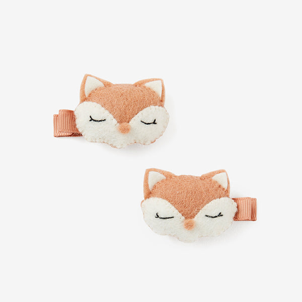 Felt Fox Baby Barrette Set
