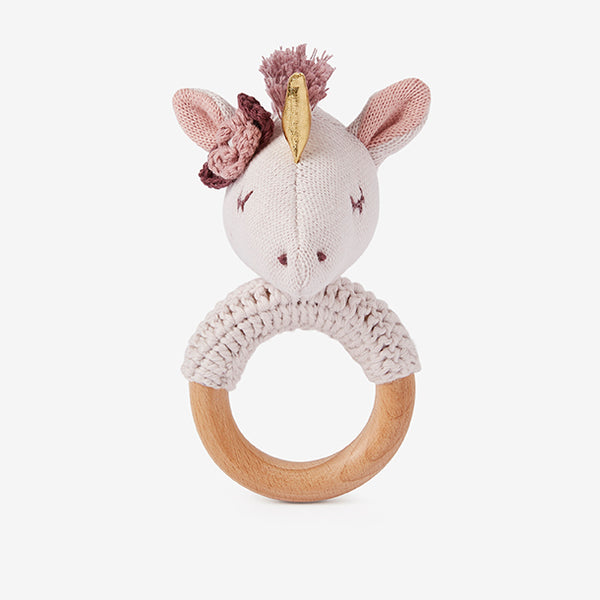 Luna Unicorn Wooden Baby Rattle