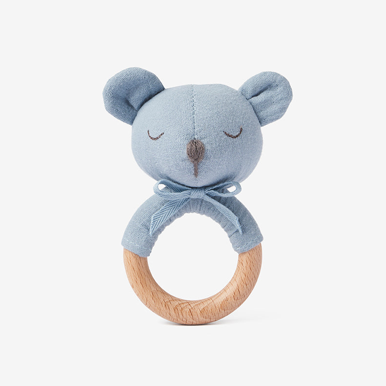 Stone Blue Bear Wooden Baby Rattle