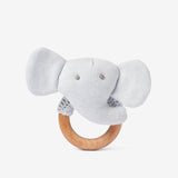 Cloud Blue Elephant Wooden Ring Rattle