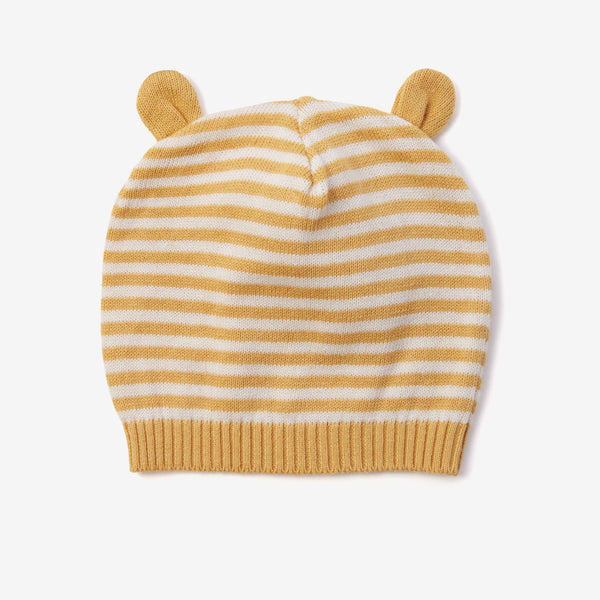 Mustard Stripe Knit Baby Hat with Ears