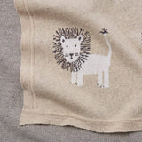 Lion Cotton Knit Baby Blanket