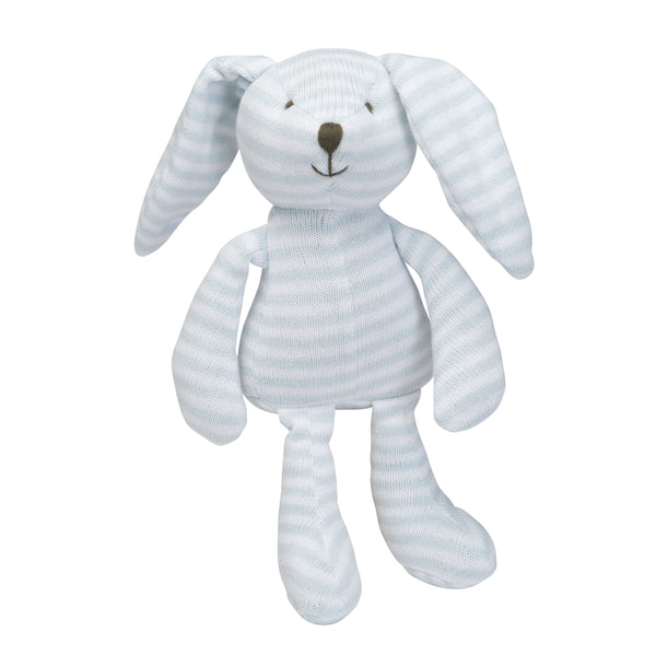 Blue Stripe Bunny Knit Toy