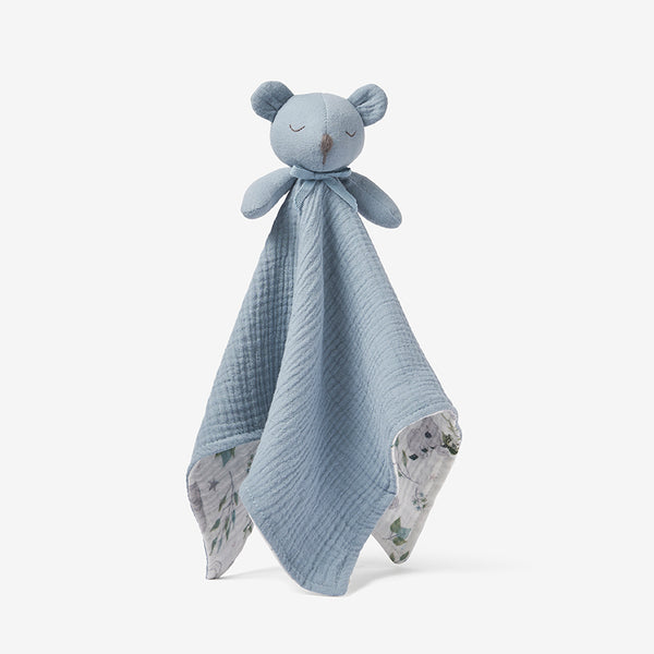 Stone Blue Bear Organic Baby Security Blanket