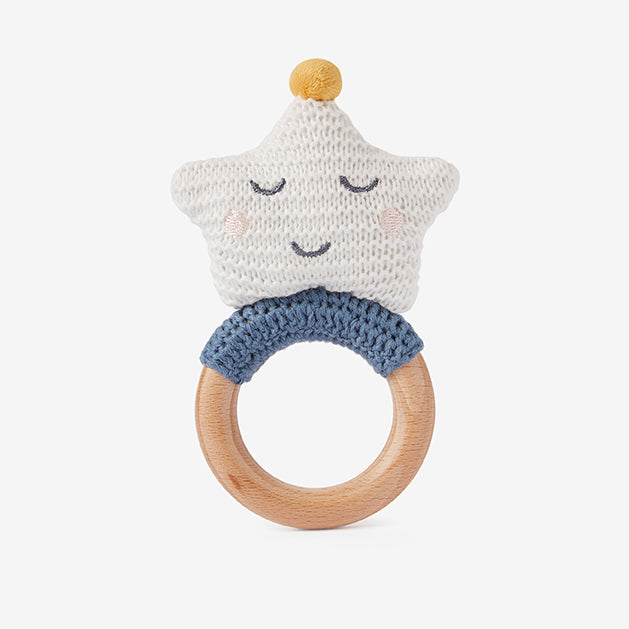 Celestial Star Wooden Baby Rattle