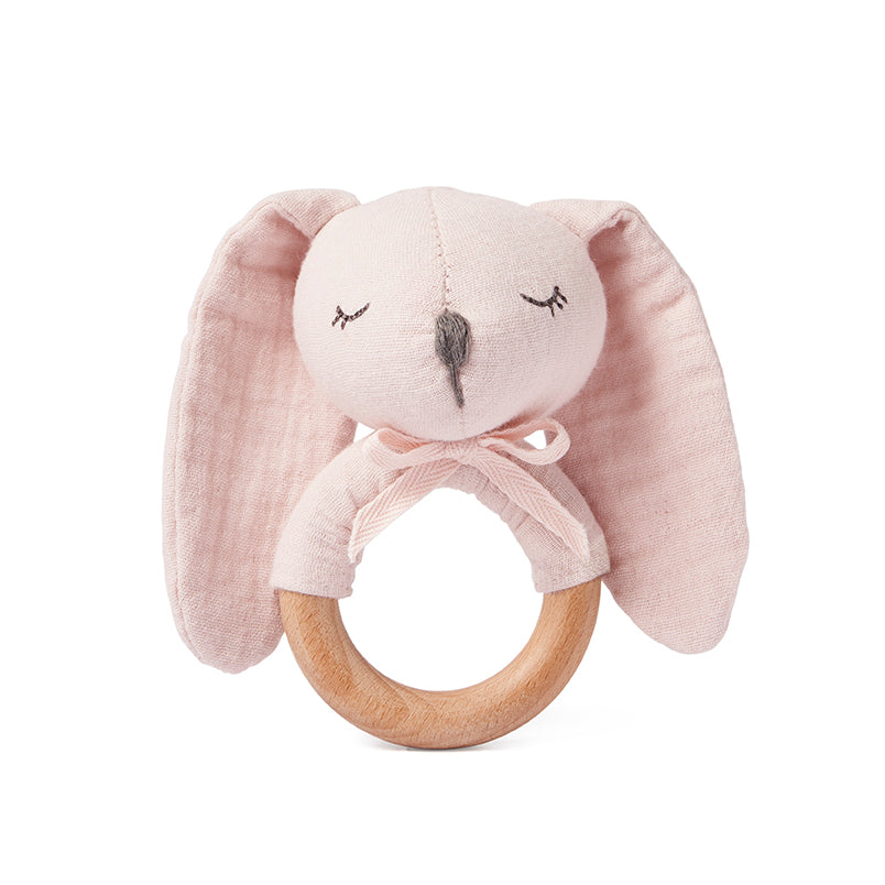 Blush Bunny Wooden Baby Rattle