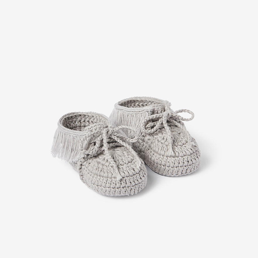 Gray Moccassin Hand Crocheted Baby Booties