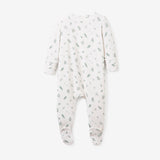 Leaf Print Zip-up Bamboo Footie Pajama Jumpsuit