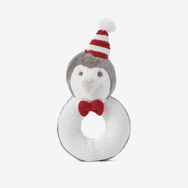 Holiday Penguin Baby Ring Rattle