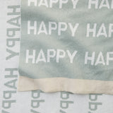 Sage Happy Cotton Knit Baby Blanket