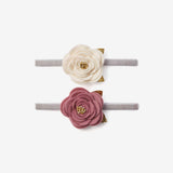 Mauve/White Rose Baby Headbands 2pk