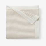 Wheat Mini Stripe Cotton Knit Baby Blanket
