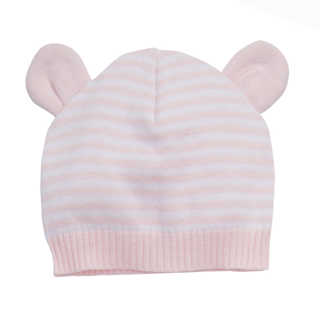 Knit Hat with Ears-Pink 3-6M